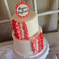 Bridal Shower Peach/coral ombré bridal shower cake. LMF ruffles, 6mm dragees and little pearls.