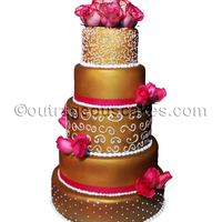 5 Tier Wedding Cake   Wedding cake airbrushed in gold.