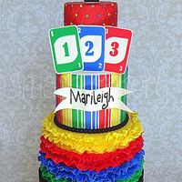 Uno 1St Birthday Cake UNO themed first birthday cake! The inside of the cake layers were colored to perfectly match the outside colors. So colorful and fun to...