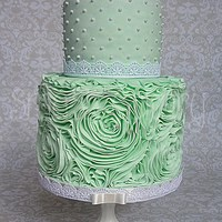 Mint Rose Ruffle Cake All fondant mint rose ruffle bridal shower cake. The ruffling took 8 hours, due to a couple of false starts. I used the lovely Sharon Wee...