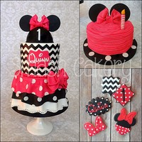 Minnie Mouse Collection Minnie mouse birthday cake, smash cake, and cookies. Design was based on the little birthday baby's ruffled dress for the party.