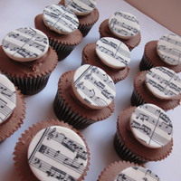Music Cupcakes   Cupcakes topped with edible musical sheets