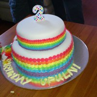"A Rainbow Cake Both Top And Bottom Tiers Have Six Layers Of Cake In Rainbow Colours The Base Is 10 And Top Is 7 A Rainbow cake. Both top and bottom tiers have six layers of cake in rainbow colours. The base is 10"" and top is 7""."