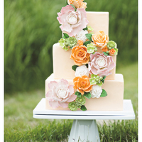 Wedding Cakes 3-tier fondant wedding cake with handmade gum paste flowers