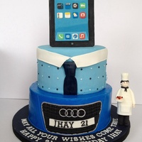 Two Tier Cake For A 21St Birthday Celebration Ipad And Chef Figure Are Fondant Two-tier cake for a 21st birthday celebration. Ipad and chef figure are fondant.