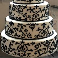 Damask Black and white damask cake.