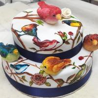 Birds Hand painted bird cake. Bird toppers are modeling chocolate :)