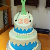 Nataly's Cake Ski-themed cake for a friend's birthday. Although it's hard to tell from the picture, the top tier is angled to be like a hill....