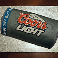 "Coors Light Can Cake Covered With Buttercream Decorated With Fondant Cut By Hand Silver Spraypaint Used To Make The Can Look Shiny Coors Light Can Cake - covered with buttercream, decorated with fondant cut by hand. Silver ""spraypaint"" used to make the can..."