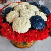 Red White And Bluw Cupcake Bouquet