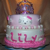 Hello Kitty With Princess Crown And Butterflies.