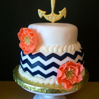 Anchor And Chevron Cake Anchor and Chevron Cake