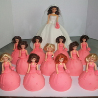 Bride And Her Attendants Dolls Hair Matched The Wedding Party Bride and Her Attendants. Dolls' hair matched the wedding party!