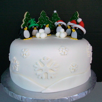 Christmas Penguin Cake I Used Cookies For The Trees Christmas Penguin Cake. I used cookies for the trees.