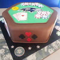 Poker Groom's Cake Pumpkins Spice cake with Pumpkin Spice cream cheese filling covered with fondant and gum paste decorations. The Raven Logo and Army Emblem...