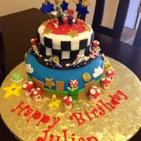Super Mario Bros I made this cake for my Grandson's 5th Birthday! White Cake with Fresh Strawberry and Banana with Whipped Creme filling......All...