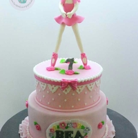 Pretty In Pink Ballerina Theme Cake This is a girly girl's cake- it is pink, it has ruffles, ribbons and lace and tiny flowers truly a young lady's dream cake for...