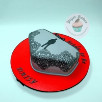50 Shades Of Grey Bachelorette Cake  A 2D lingerie cake for the bride who is a big fan of the book- I used edible lace icing to create a stunning detail and the silhouette of &...
