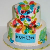 Kumon Center Grand Opening Kumon Center Grand Opening Cake - decorated with gelatin formed in paisley candy molds. Used Reverse buttercream transfer for the Kumon...