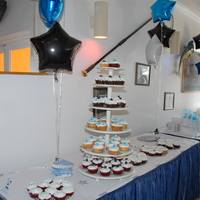 Cheer Banquet 100 Extra Large Choc Vanilla Red Velvet Confetti Cakes Filled With A Baam Blue Icing Center   Cheer Banquet 100 extra large Choc, Vanilla, red velvet ,confetti cakes filled with a BAAM blue icing center.