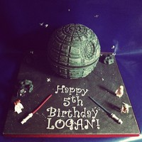 Death Star Cake From Star Wars   edible handmade flying spaceships around the Death Star