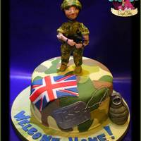 Welcome Home Soldier! Army Girl x I made this cake for a soldier who was leaving her post in Afghanistan to come home, the cake inside was a chocolate sponge...