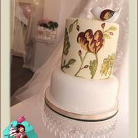 Fire Flower Wedding I made this cake for a display piece in Primrose Place Bridal Boutique, I took inspiration from a mirror I found in a charity shop, I didn...