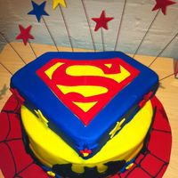 This Is The First Time I Worked With Fondant The Batman And The Superman Logo Were All Done By Hand The Spider Web Left A Lot To Be D  This is the first time I worked with fondant ... the batman and the superman logo were all done by hand - the spider web left a lot to be...