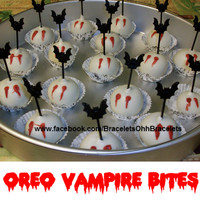Oreo Vampire Bites How cute are these! Made these yesterday! So Simple No Bake Cream Cheese & Oreo Vampire Bites