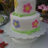 Spring Flower And Bows Birthday Cake Spring, flower and bows birthday cake (: