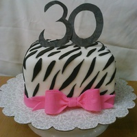 Zebra 30Th Birthday Cake With Pink Bow   Zebra 30th birthday cake with pink bow (: