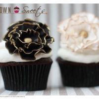 Cupcakes Chocolate Birthday Cupcakes with Black and White Ruffled Fondant Flowers with Gold Trim