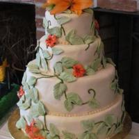 Wedding Cake With Handcrafted Tiger Lilies And Vines Wedding cake with handcrafted tiger lilies and vines