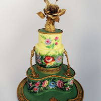 Floral Wedding Cake Hand-painted floral wedding cake
