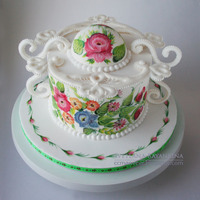 Russian Style Painted Cake  This cake was decorated with royal icing and hand-painted in one stroke technique, which was very popular in Russia in the 18th century &...