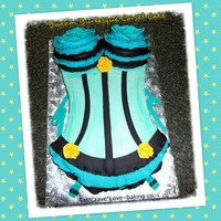 Buxom Burlesque Corset Cake SMBC with fondant ruffles and flowers