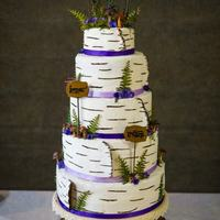 Wedding Cake  *A 5 tier Buttercream wedding cake. Made to look like Birch tree rounds with all handmade gum paste mushrooms, ferns, and flowers. I...
