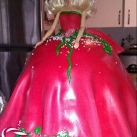 "Holiday Barbie   December Birthday Party Cake ""Holiday Barbie"""