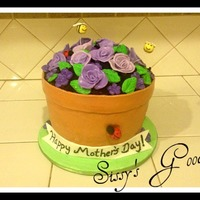 Flower Pot Cake! Cake is covered in MMF, with MMF roses, flowers, lady bugs and bees.