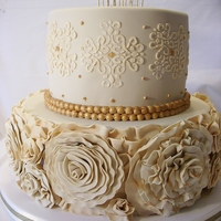 Two Tier Cake With Ruffle Roses And Golden Pearls For Bianca S Fifteenth Birthday Party   Two tier cake with ruffle roses and golden pearls for Bianca´s fifteenth birthday party!