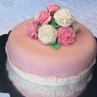 Pink Fondant Covered Cake With Gum Paste Carnations And Roses Pink fondant covered cake with gum paste carnations and roses