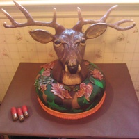 Completed Deer Headcamo Cake Completed deer head/camo cake