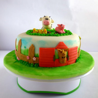 "My Mini Farm Cake 8"" cake with farm theme, animals and details made of fondant + CMC, grass made of royal icing, fondant was handpainted with a sponge..."