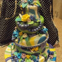 Garden Topsy Turvy I'm still new to cake making... This is my first attempt at platformed topsy turvy.