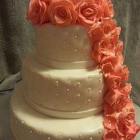 Beautiful Three Tier With Coral Colored Fondant Flowers Beautiful three tier with coral colored fondant flowers!