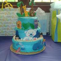 Precious Planet Baby Shower Cake All Character Were Hand Made With Fondant Bottom Tier Was Chocolate With Chocolate Mousse And Fresh Straw... Precious Planet Baby Shower Cake, all character were hand made with fondant, bottom tier was chocolate with chocolate mousse and fresh...
