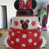 "Minnie Mouse Cake White Cake With Strawberry Filling Red Fondant Is Strawberry Flavored And Minnie Hat Is Rice Krispy Treat   Minnie Mouse Cake! white cake with strawberry filling, red fondant is strawberry flavored and Minnie ""hat"" is rice krispy treat"