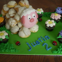 Gateau Mouton Choux I made this cream puff sheep for my nephew 2nd birthday. Raspberry mousse inside the puffs and chocolate flower cupcake to complete the...