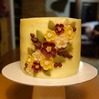 Marzipan Flowers (Hand Cut) On A Cake My first cake :)