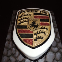 Porsche Father's Day Cake Custom molded Porsche Crest.